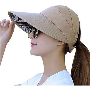 Women's Sun Visor Hat Large aside Brim Khaki New